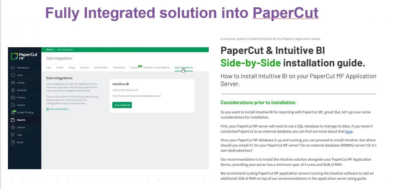 Intuitive data integration PaperCut